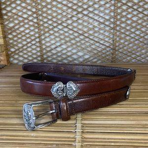 VTG Fossil hinged brown leather belt